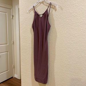 Dark Purple Open-Back Slip Dress